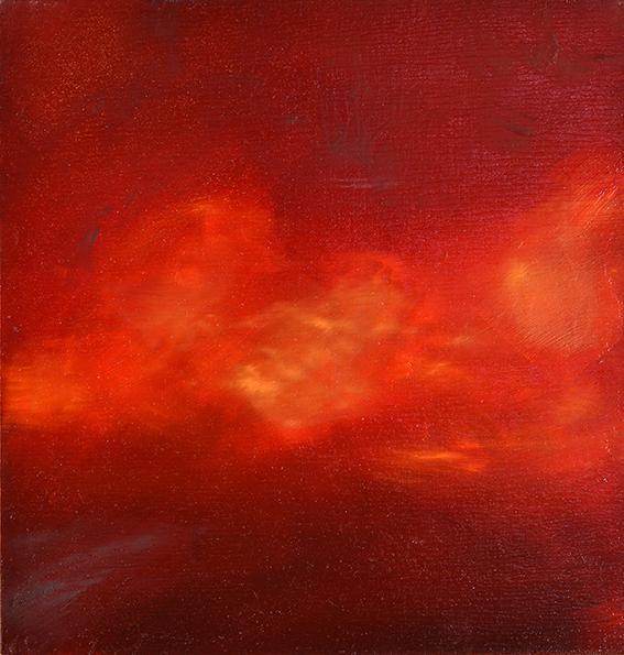 Krapplack dunkel mit Einfluss von Orange, Cadmiumgelb und -rot, 21 x 20 cm, 2018