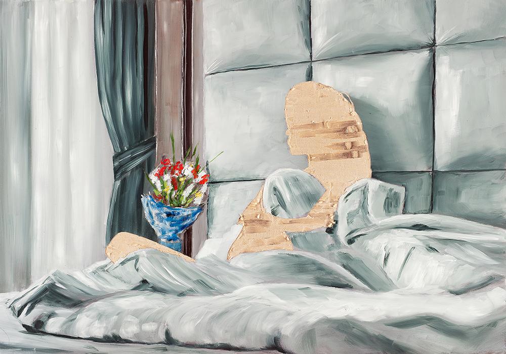 ohne Titel I/16, Öl und Flachstich auf Schichtholzplatte, 60 x 42 cm, 2016