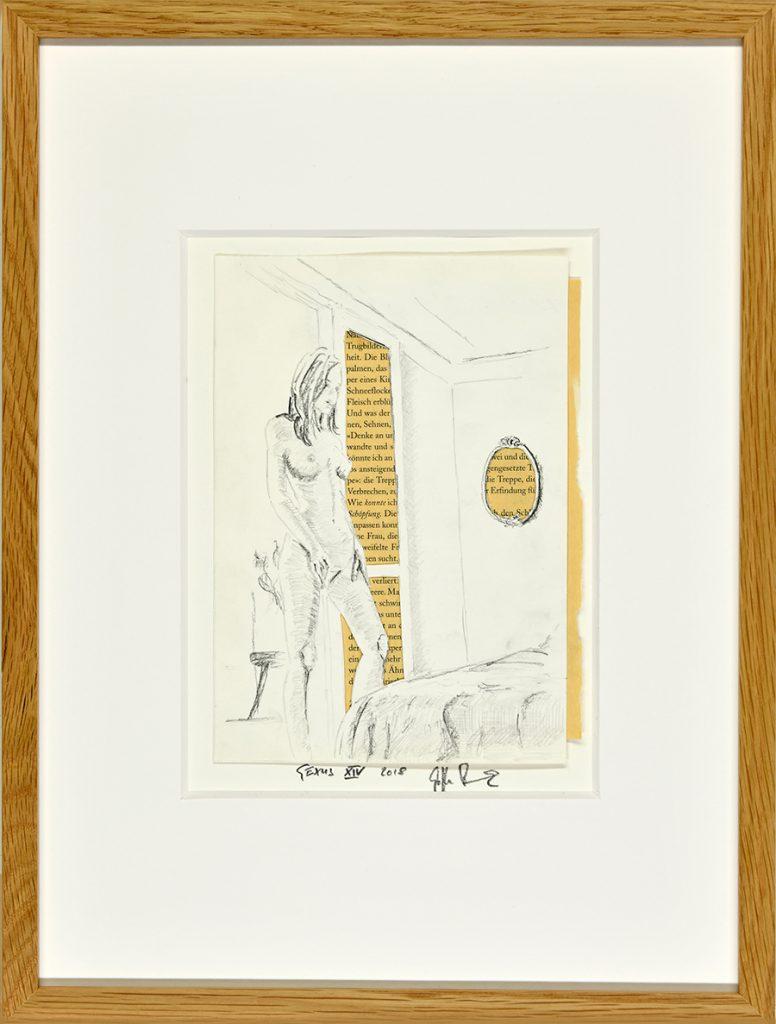 Sexus XIV – Hommage an H. Miller, Collage, Zeichnung, Buchseite, ca. 21 x 30 cm, 2018, gerahmt
