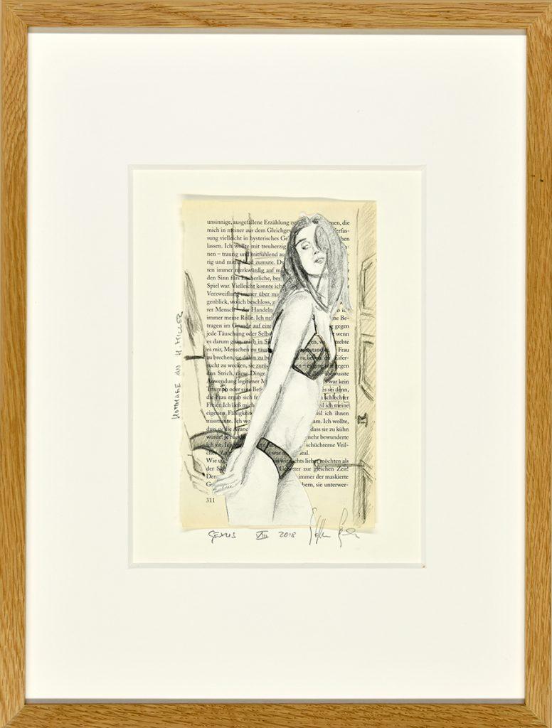Sexus VIII – Hommage an H. Miller, Zeichnung, Buchseite, ca. 21 x 30 cm, 2018, gerahmt