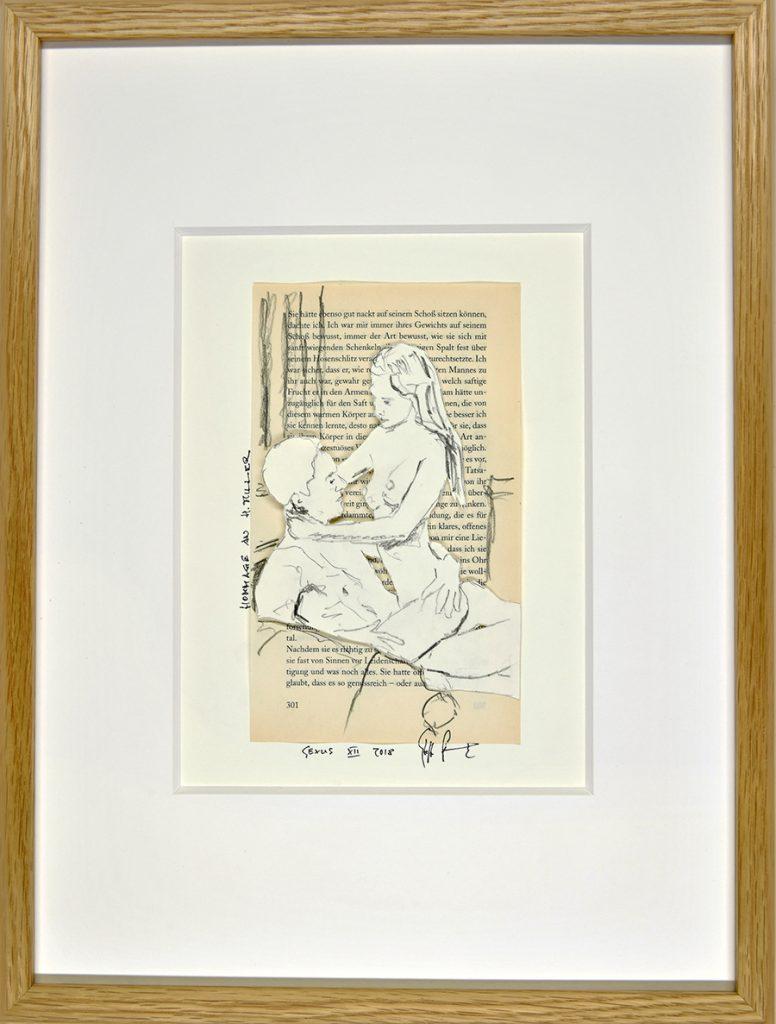Sexus XII – Hommage an H. Miller, Collage, Zeichnung, Buchseite, ca. 21 x 30 cm, 2018, gerahmt