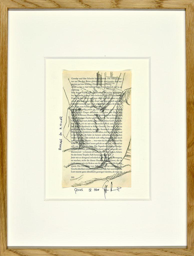 Sexus IX – Hommage an H. Miller, Zeichnung, Buchseite, ca. 21 x 30 cm, 2018, gerahmt
