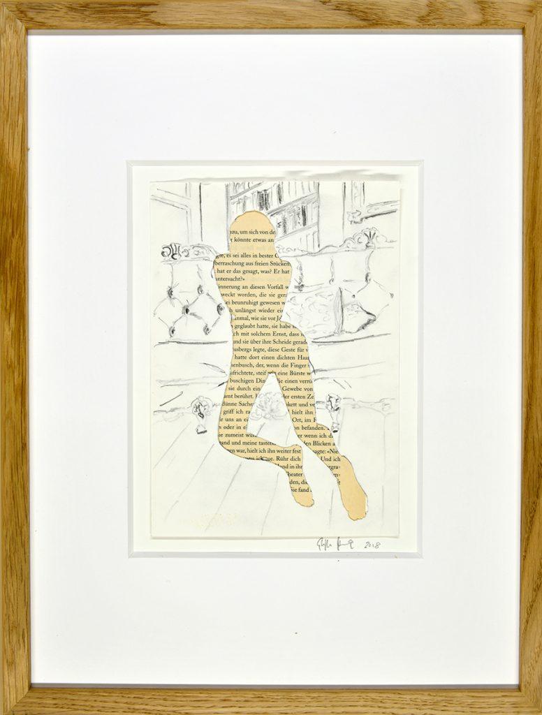 Sexus I – Hommage an H. Miller, Collage, Zeichnung, Buchseiten, ca. 21 x 30 cm, 2018, gerahmt
