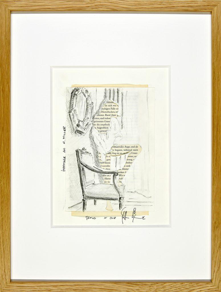 Sexus X – Hommage an H. Miller, Collage, Zeichnung, Buchseite, ca. 21 x 30 cm, 2018, gerahmt
