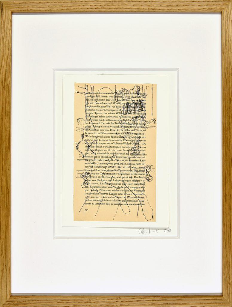Sexus III – Hommage an H. Miller, Zeichnung, Buchseite, ca. 21 x 30 cm, 2018, gerahmt