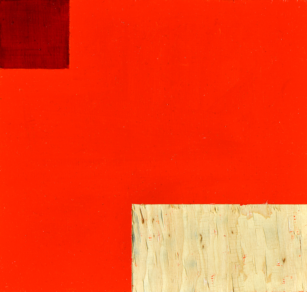 Cadmiumrot über Weiß, Öl und Flachstich auf Schichtholzplatte, je 21 x 20 cm, 2018