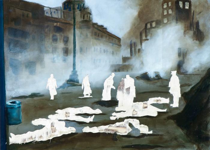Feuersturm - Die Lebenden und die Toten, Öl und Flachstich auf Schichtholzplatte, 30 x 42 cm, 2014