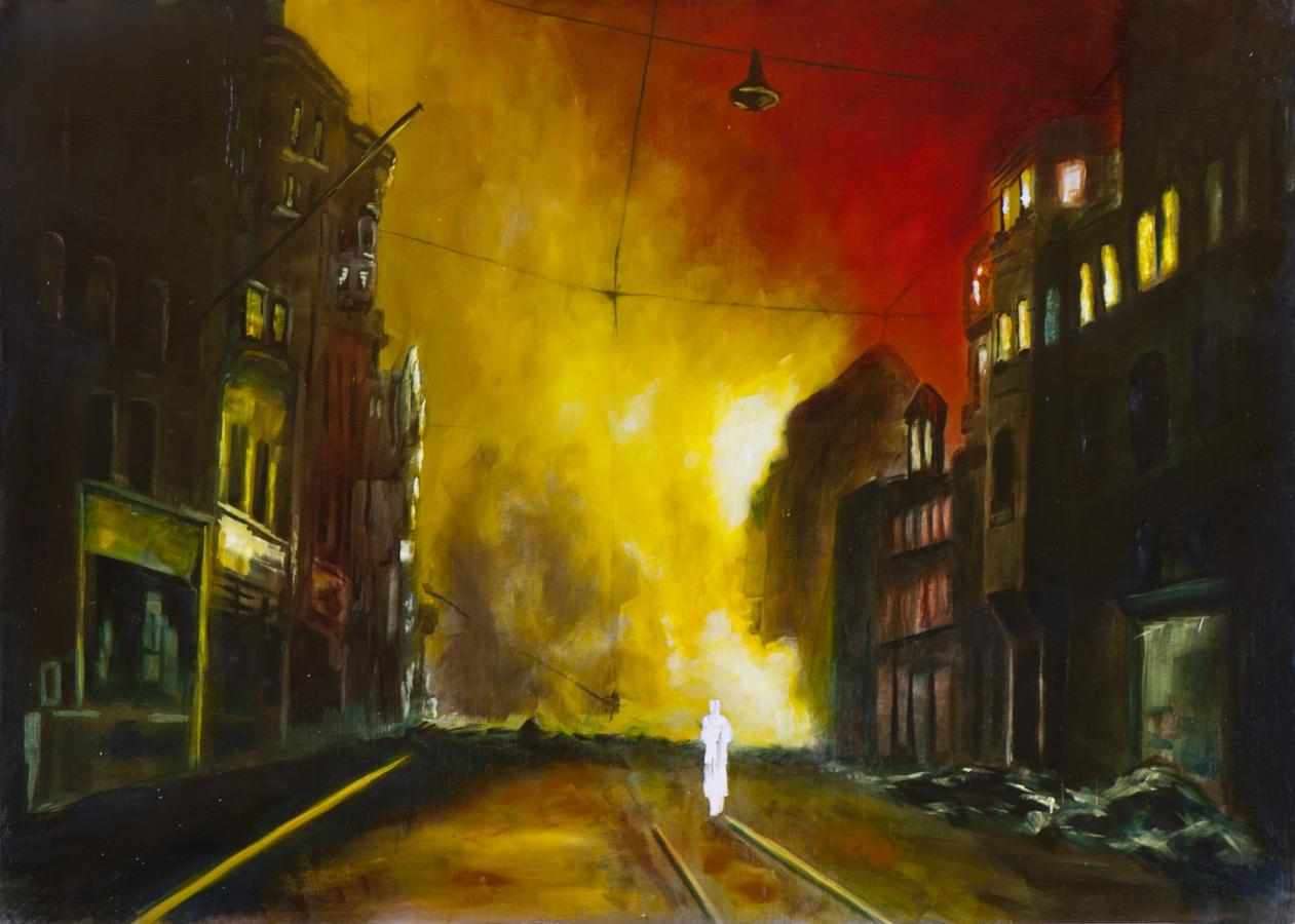 Feuersturm VIII (Nacht über Nürnberg), Öl und Flachstich auf Schichtholzplatte, 60 x 84 cm, 2015