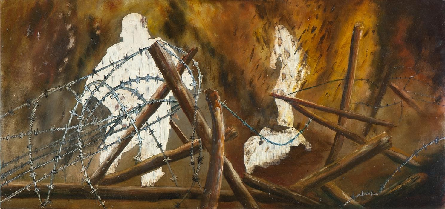 Gott mit uns I (Im Sturmgebrüll), Öl und Flachstich auf Schichtholzplatte, 42 x 90 cm, 2014