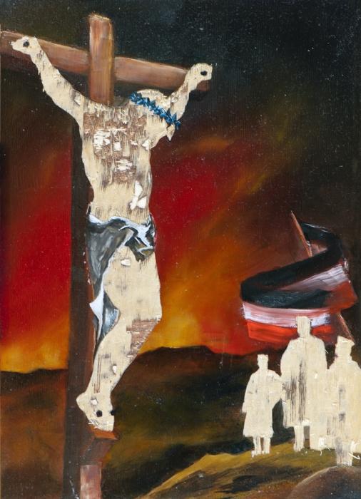 Gott mit uns II (Der Anfang und das Ende), Öl und Flachstich auf Schichtholzplatte, 42 x 30 cm, 2014