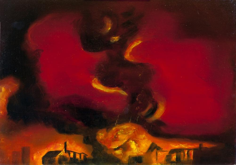 Gott mit uns III (Heimaterde), Öl auf Schichtholzplatte, 42 x 60 cm, 2014