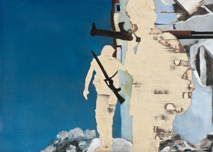 Irgendwo ist immer ein Krieg V/13, Öl und Flachstich auf Schichtholzplatte, 30 x 42 cm, 2013