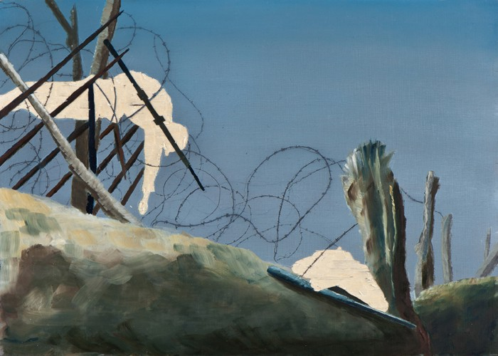 Irgendwo ist immer ein Krieg XIII/13, Öl, Bleistift und Flachstich auf Schichtholzplatte, 30 x 42 cm, 2013
