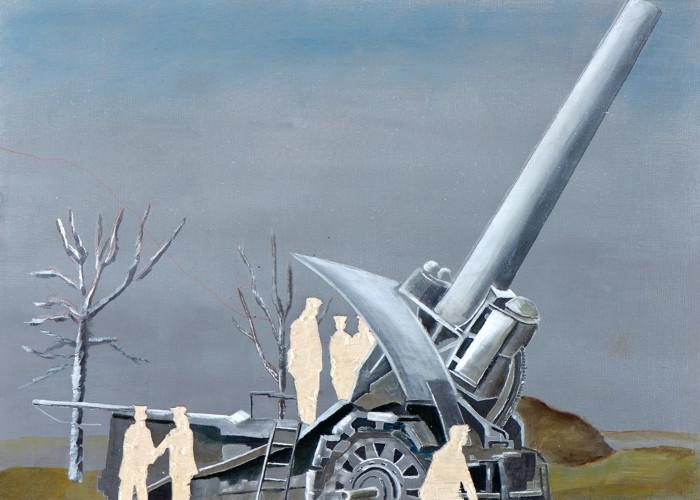 Irgendwo ist immer ein Krieg II/14, Öl und Flachstich auf Schichtholzplatte, 30 x 42 cm, 2014