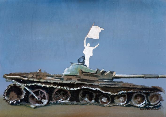 Irgendwo ist immer ein Krieg IV/14 (Welche Farbe hat die Fahne der Freiheit?), Öl und Flachstich auf Schichtholzplatte, 30 x 42 cm, 2014