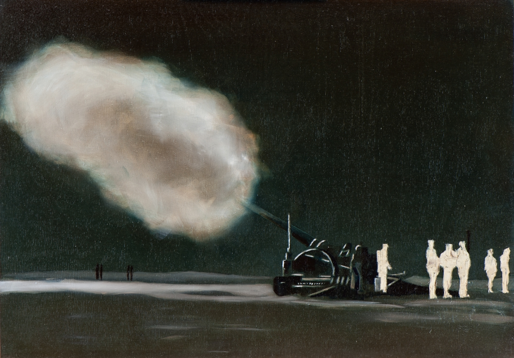 Irgendwo ist immer ein Krieg V/14, Öl und Flachstich auf Schichtholzplatte, 42 x 60 cm, 2014