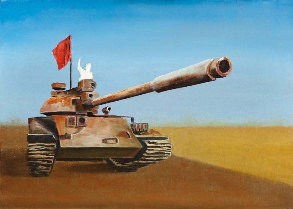 Irgendwo ist immer ein Krieg VII/14, Öl und Flachstich auf Schichtholzplatte, 30 x 42 cm, 2014