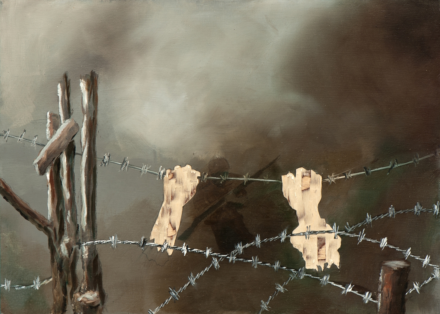Irgendwo ist immer ein Krieg VIII/14, Öl und Flachstich auf Schichtholzplatte, 30 x 42 cm, 2014