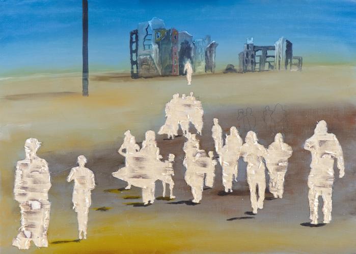 Vertreibung aus dem Paradies (I/14), Öl und Flachstich auf Schichtholzplatte, 30 x 42 cm, 2014