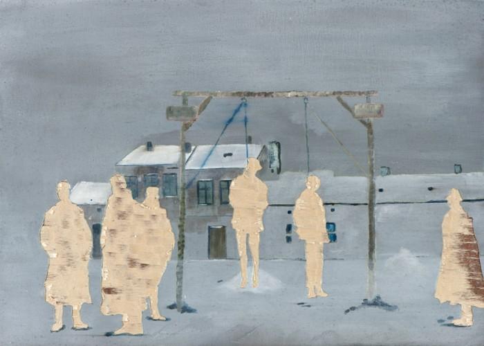 Meines Bruders Hüter II, Öl und Flachstich auf Schichtholzplatte, 30 x 42 cm, 2013