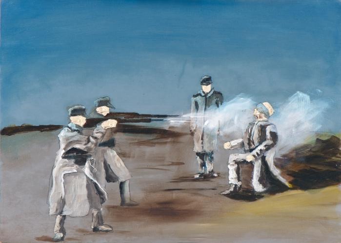 Meines Bruders Hüter IV, Öl und Flachstich auf Schichtholzplatte, 30 x 42 cm, 2013