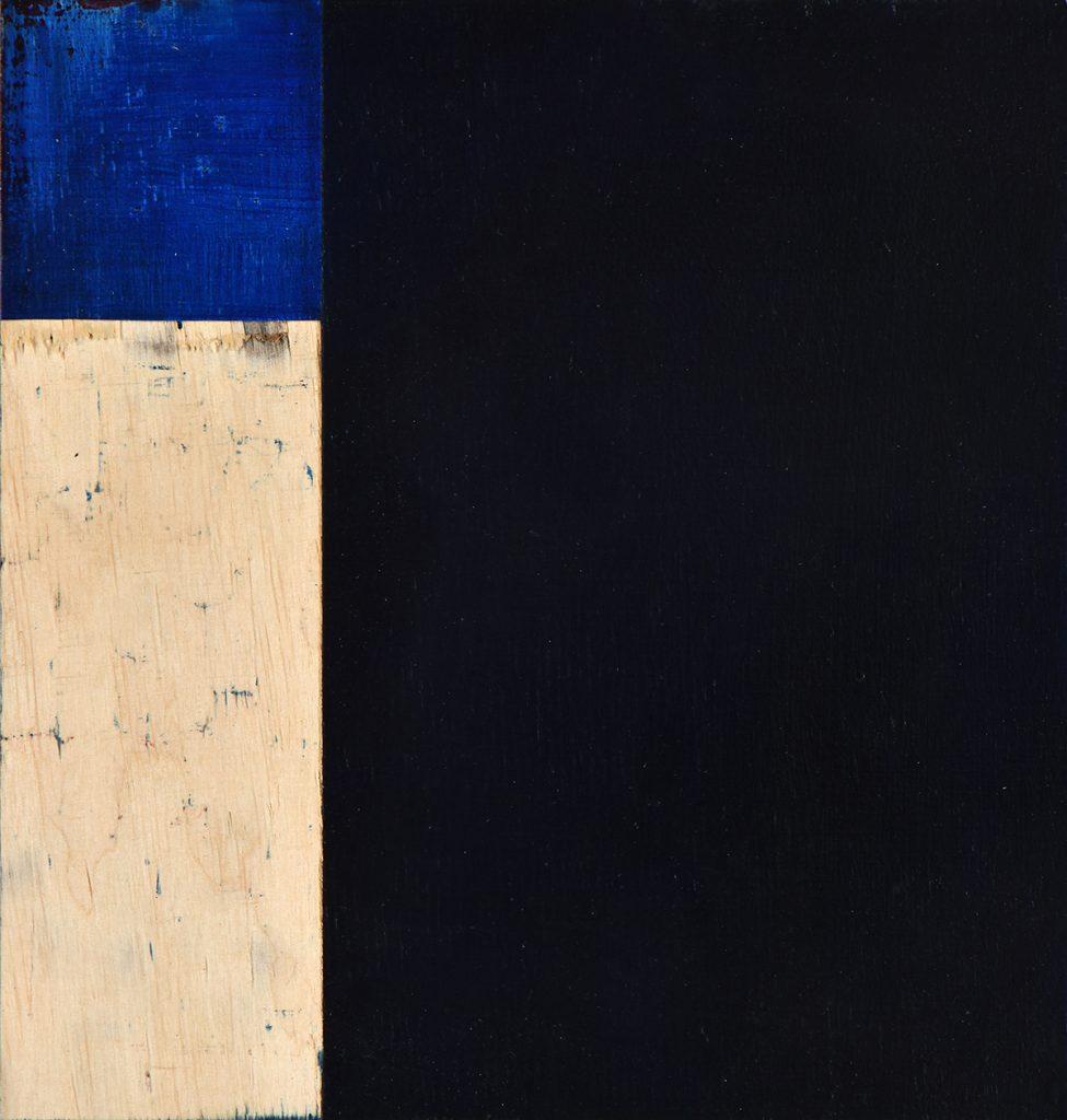Preußischblau, Öl und Flachstich auf Schichtholzplatte, je 21 x 20 cm, 2019