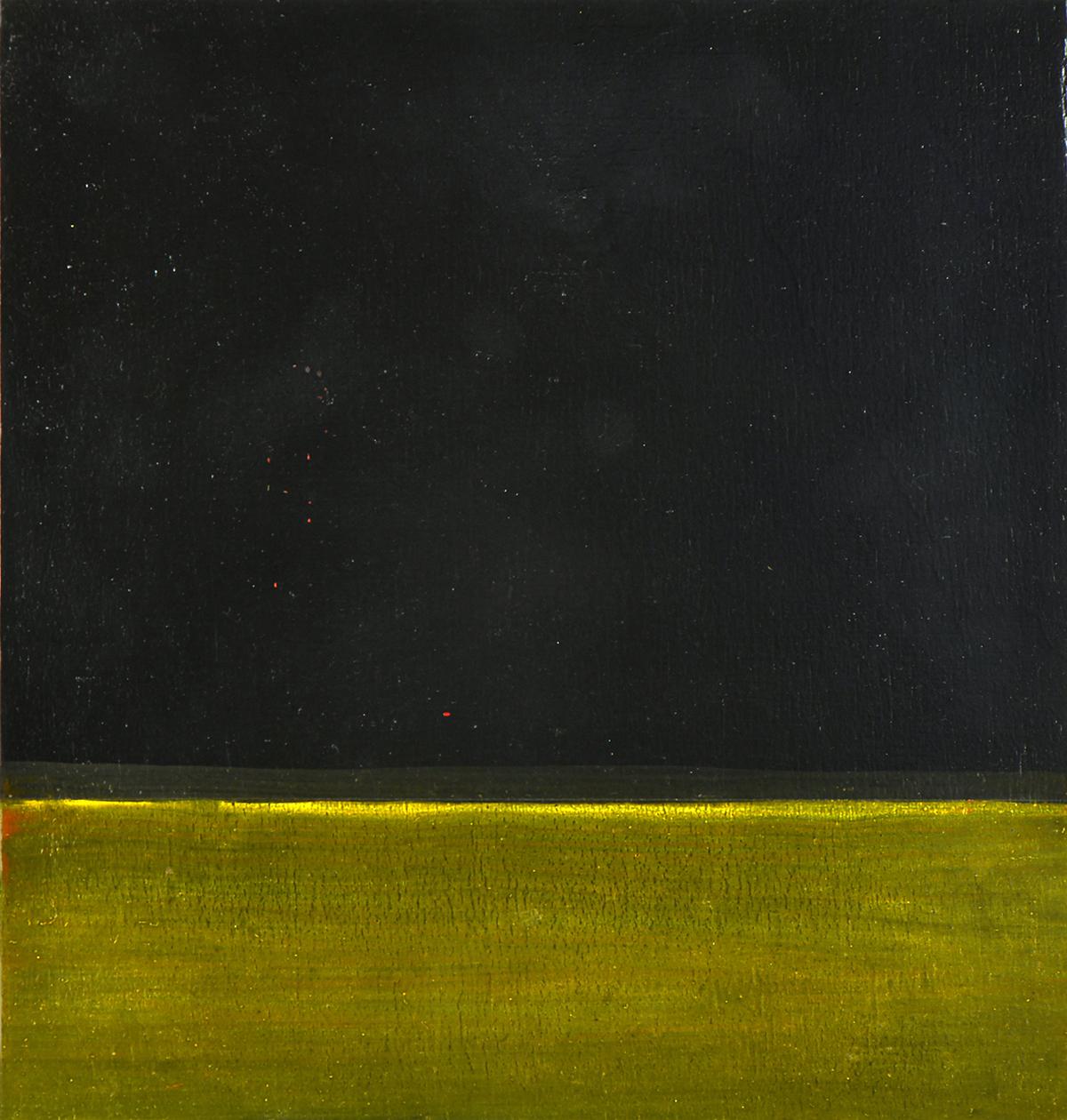 Preußischblau mit Braunem Lack (gelb.), Öl und Flachstich auf Schichtholzplatte, je 21 x 20 cm, 2019