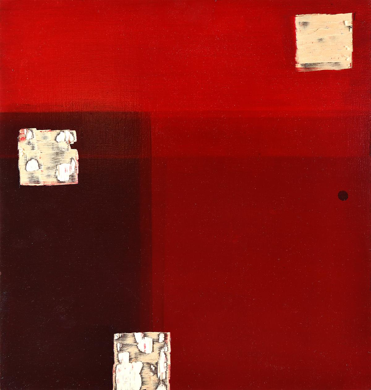 Romulus und Remus (Remus), Öl und Flachstich auf Schichtholzplatte, 42 x 40, 2019
