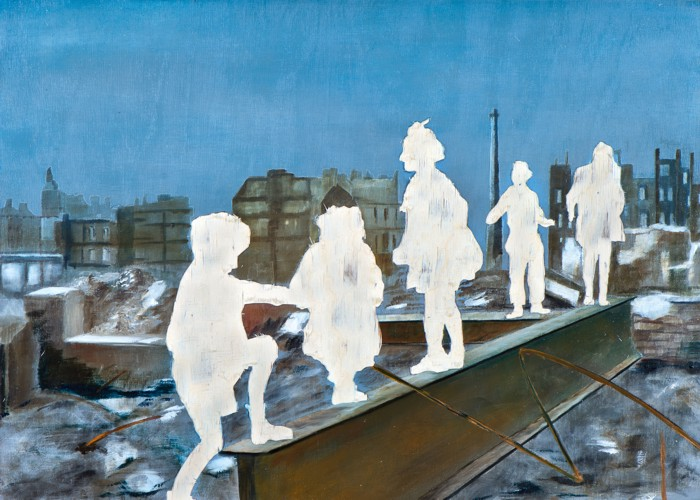 Die Rückeroberung des Paradieses II, Öl und Flachstich auf Schichtholzplatte, 30 x 42 cm, 2014