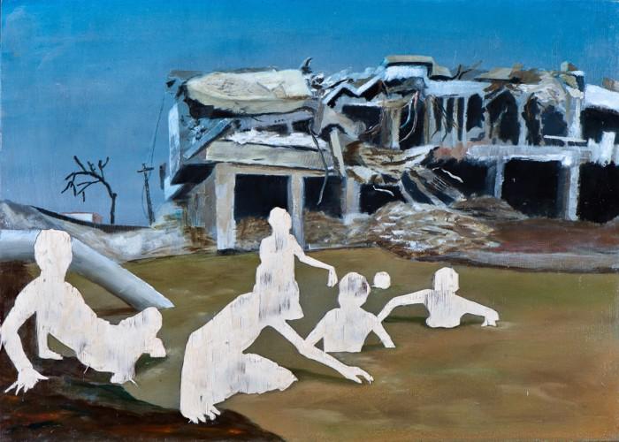 Die Rückeroberung des Paradieses III, Öl und Flachstich auf Schichtholzplatte, 30 x 42 cm, 2014