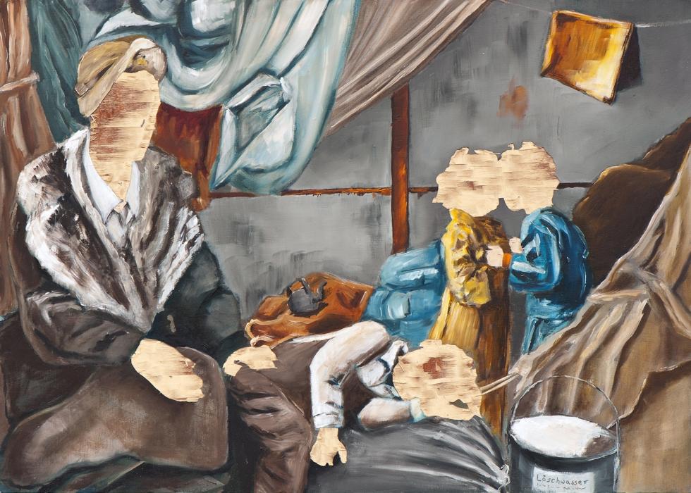 Vertreibung aus dem Paradies (I/15), Öl und Flachstich auf Schichtholzplatte, 42 x 60 cm, 2015