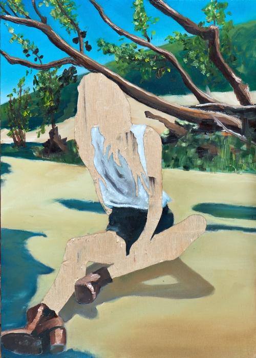 ohne Titel I/14, Öl und Flachstich auf Schichtholzplatte, 42 x 30 cm, 2014