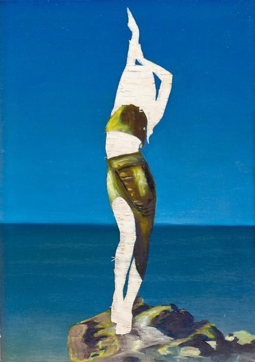 ohne Titel III/14, Öl und Flachstich auf Schichtholzplatte, 42 x 30 cm, 2014