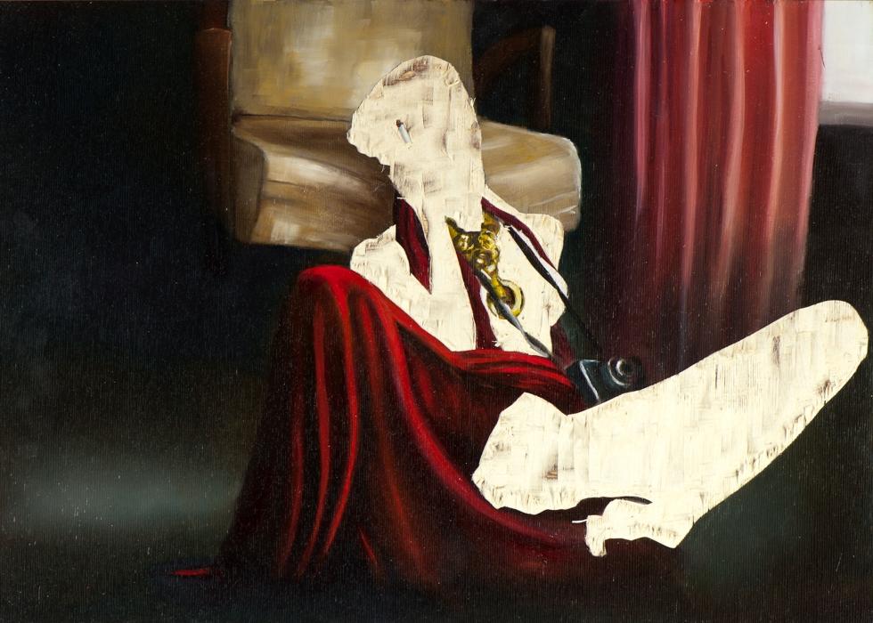 ohne Titel V/14, Öl und Flachstich auf Schichtholzplatte, 42 x 60 cm, 2015 (Privatsammlung)