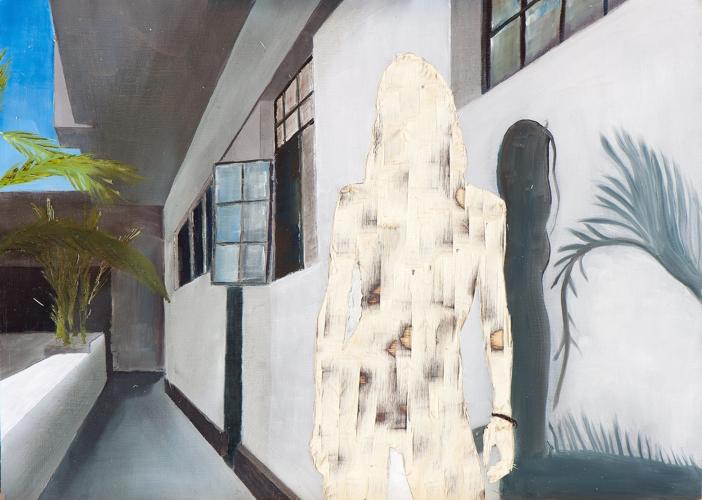 ohne Titel VI/14, Öl und Flachstich auf Schichtholzplatte, 30 x 42 cm, 2014