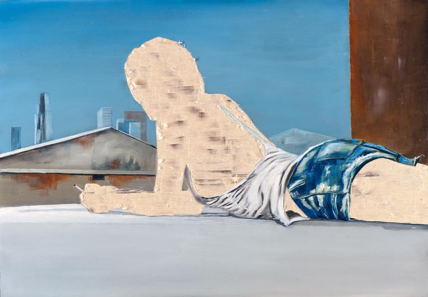 ohne Titel VII/14, Öl und Flachstich auf Schichtholzplatte, 42 x 60 cm, 2014
