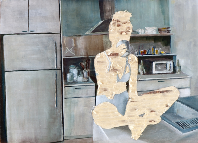 ohne Titel VIII/14, Öl und Flachstich auf Schichtholzplatte, 30X 42 cm, 2014
