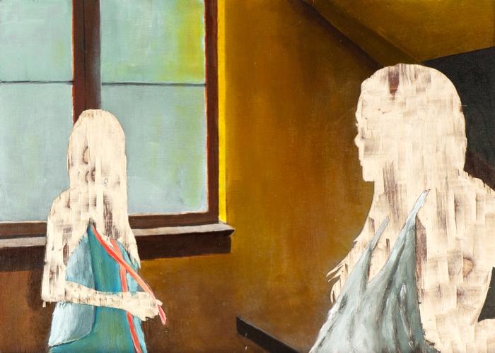 ohne Titel X/14, Öl und Flachstich auf Schichtholzplatte, 30 x 42 cm, 2014