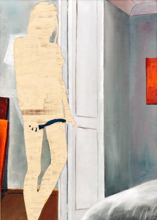 ohne Titel III/15, Öl und Flachstich auf Schichtholzplatte, 42 x 30 cm, 2015