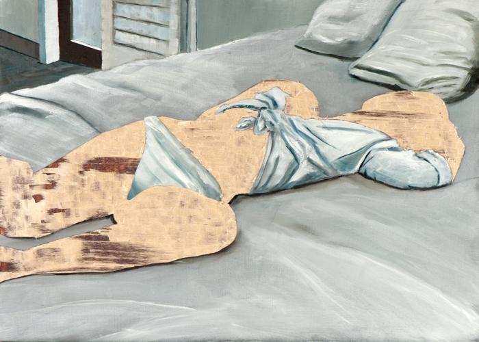 ohne Titel V/15, Öl und Flachstich auf Schichtholzplatte, 30 x 42 cm, 2015