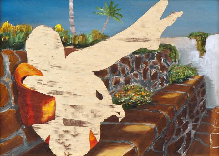 ohne Titel VIII/15, Öl und Flachstich auf Schichtholzplatte, 30 x 42 cm, 2015