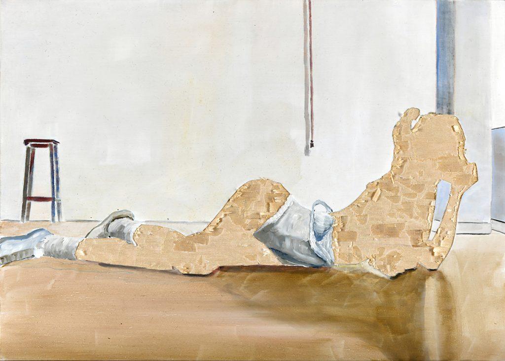 ohne Titel VIII/16, Öl und Flachstich auf Schichtholzplatte, 30 x 42 cm, 2016