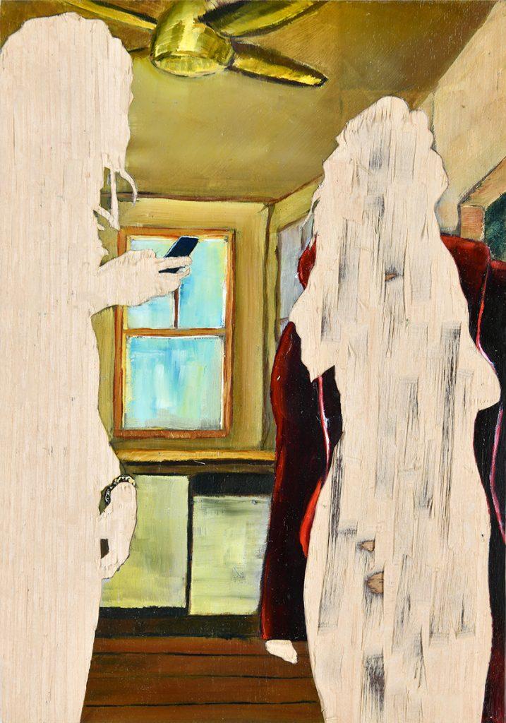 ohne Titel IV/18, Öl und Flachstich auf Schichtholzplatte, 30 x 21 cm, 2018