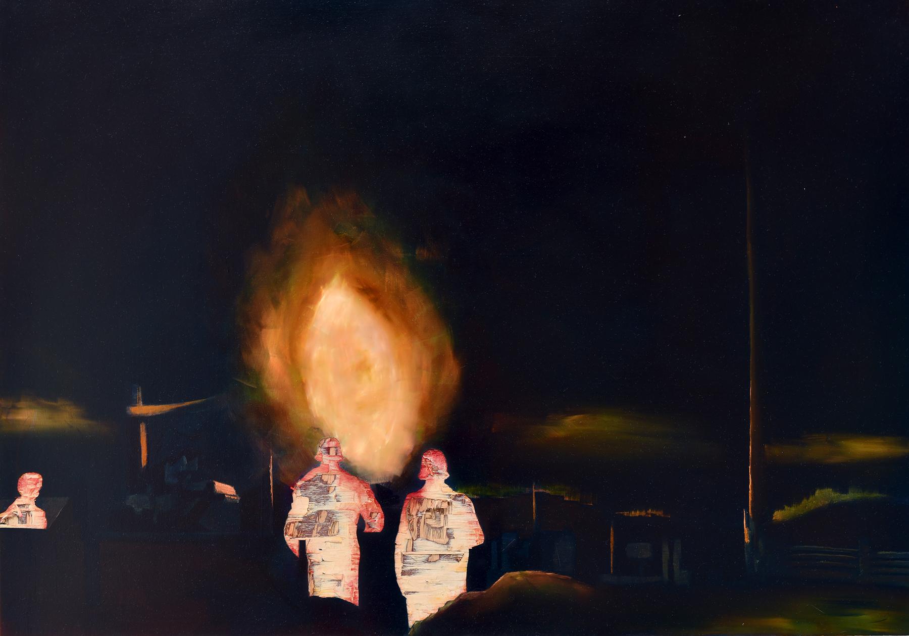 Irgendwo ist immer ein Krieg (Nachtschwarz), Öl und Flachstich auf Schichtholzplatte, 60 x 84 cm, 2020