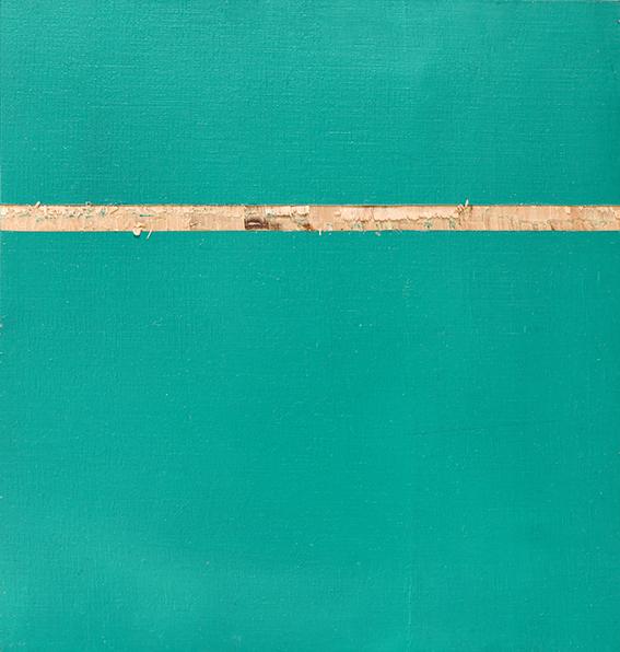 Phtalogrün Serie #1 I, Öl und Flachstich auf Schichtholzplatte, 21 x 20 cm, 2020