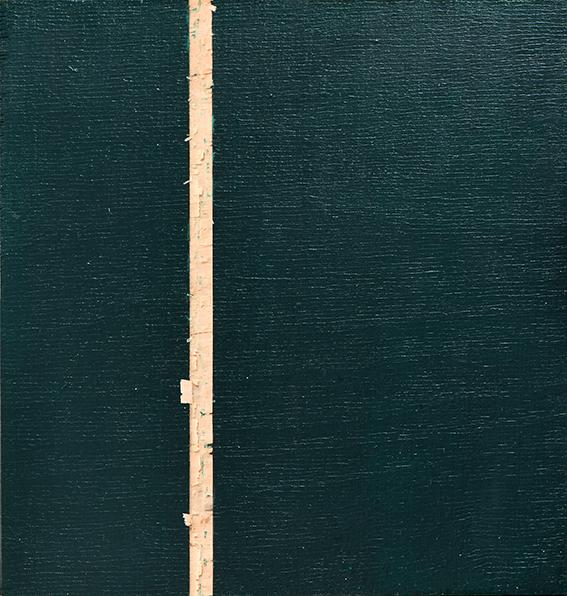 Phtalogrün Serie #1 II, Öl und Flachstich auf Schichtholzplatte, 21 x 20 cm, 2020