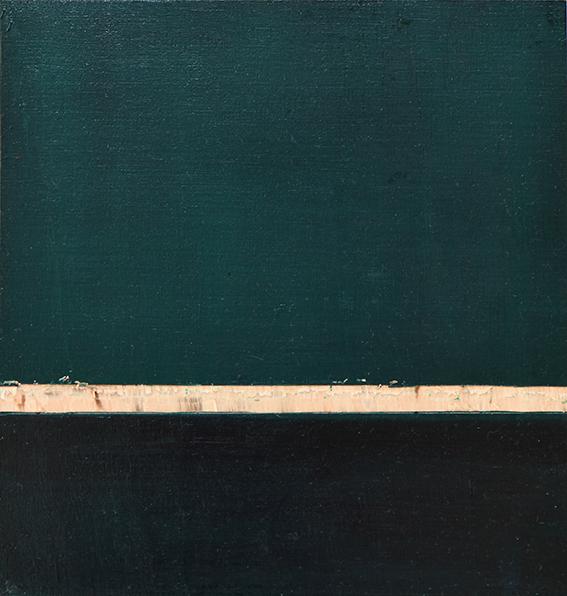 Phtalogrün Serie #1 III, Öl und Flachstich auf Schichtholzplatte, 21 x 20 cm, 2020
