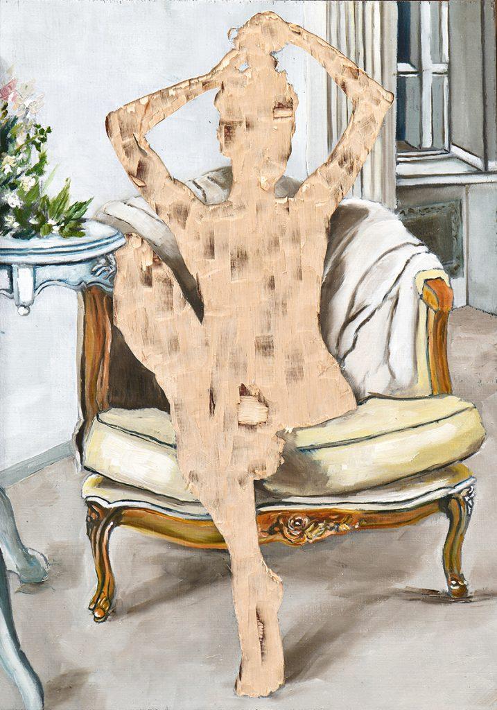 ohne Titel III/20, Öl und Flachstich auf Schichtholzplatte, 30 x 21 cm, 2020