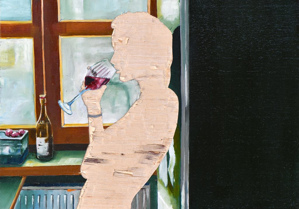 ohne Titel IV/20, Öl und Flachstich auf Schichtholzplatte, 21 x 30 cm, 2020