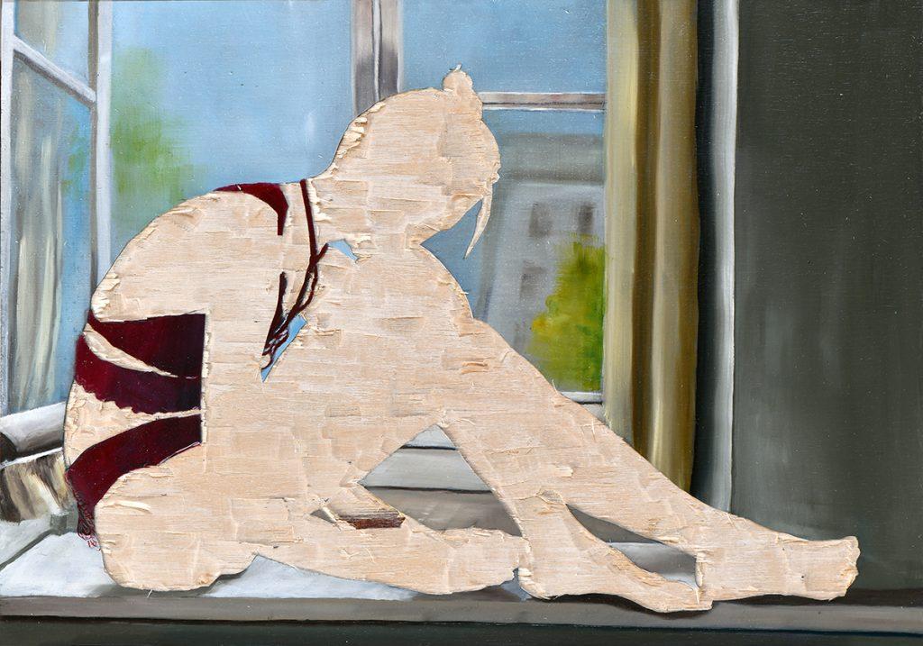 ohne Titel VI/20, Öl und Flachstich auf Schichtholzplatte, 21 x 30 cm, 2020 (Privatsammlung)
